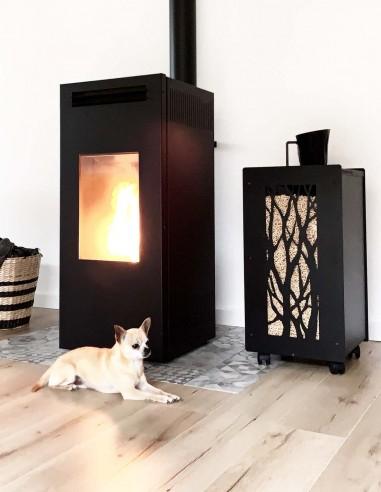Meuble design pour stocker le granulé de bois dans la maison de fabrication française