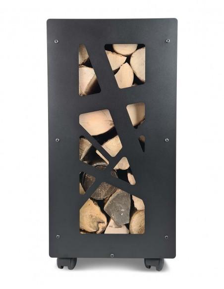 rangement de bûches de bois et de bois compressé