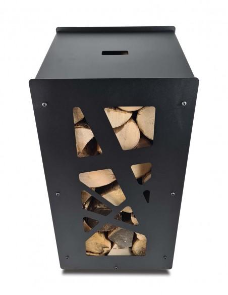 Stockez les bûchettes de bois dans un panier à bûches design