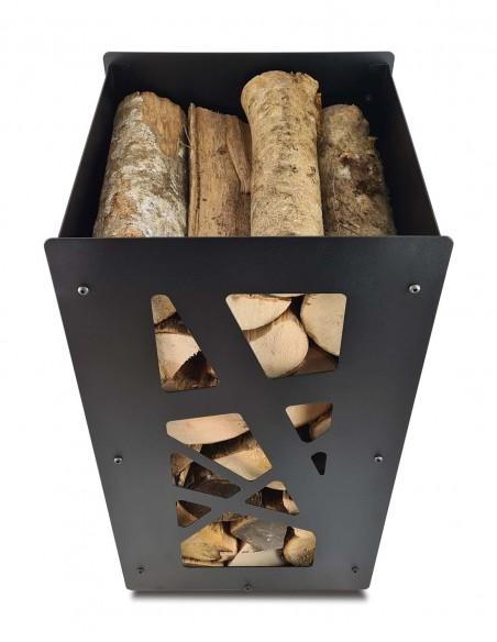 Un rangement à bûches pour poêle à bois