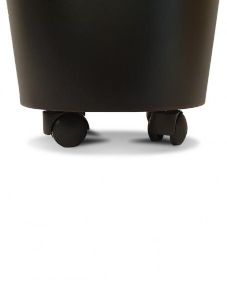 Panier à bûches design noir avec roulettes